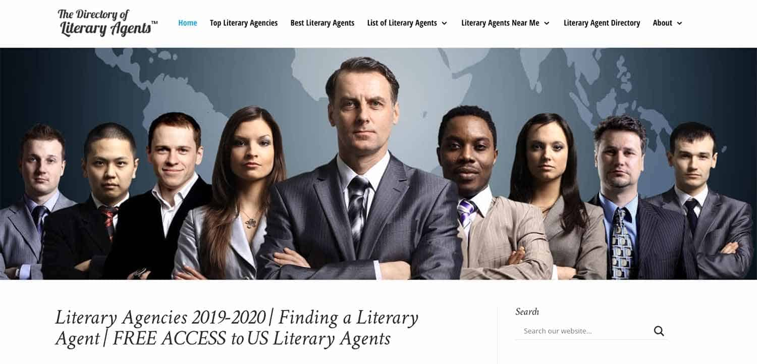 Screenshot of The Directory of Literary Agents homepage, which shows a lineup of literary agents in suits looking straight ahead