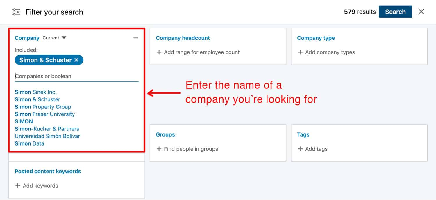 Screenshot of a search box in LinkedIn Sales Navigator showing a search for Simon & Schuster