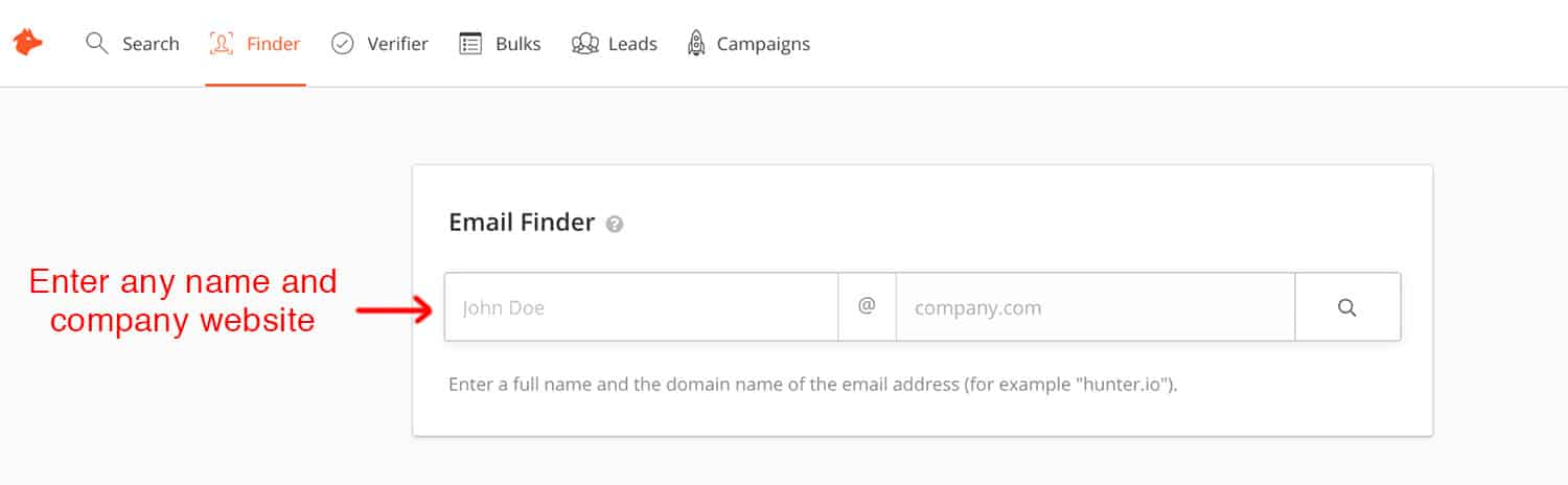 Screenshot of Hunter.io showing how to find email addresses of literary agents and publishers
