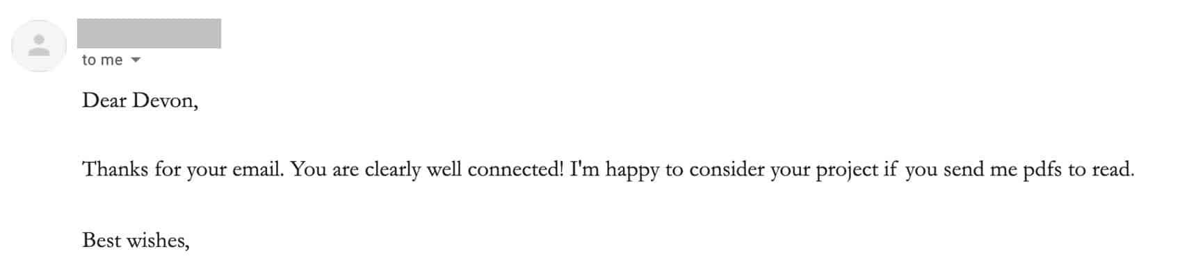 Email response from a literary agent